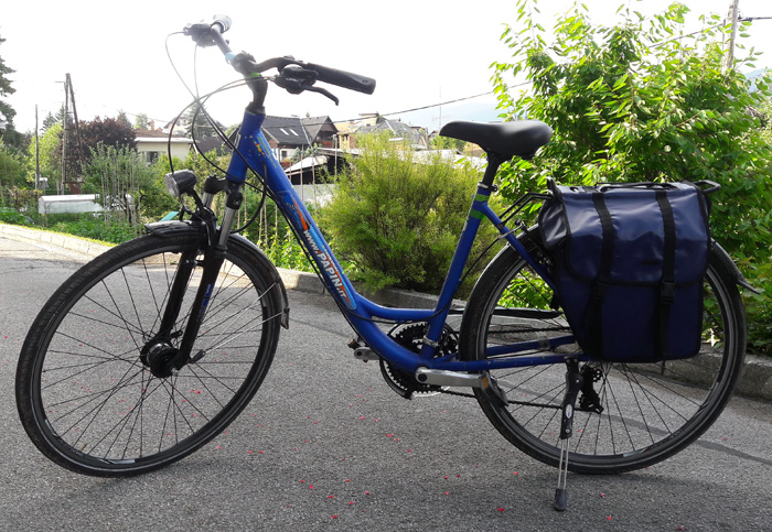 blue rental bike with panniers