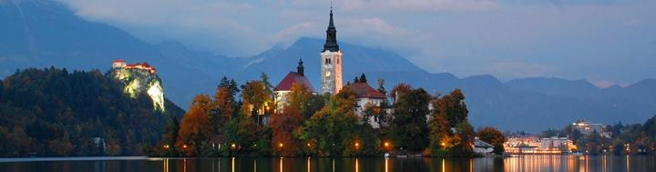 Evening panorama of Bled