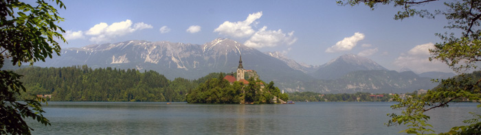 lush green panorama of Lake Bled