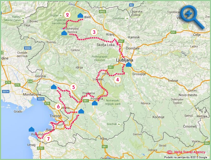 map of a road bike tour in Slovenia