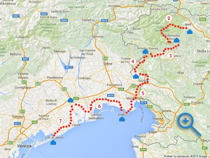 map of cycling from Bled to Venice