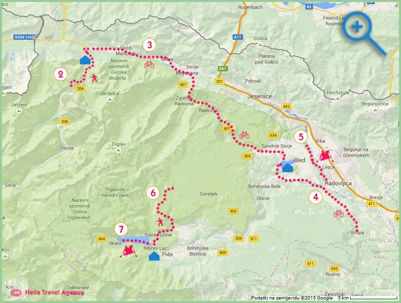 map of multisport vacation in Bled, Slovenia